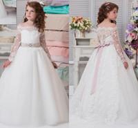 New Flower Girl Dresses For Weddings Bianco Avorio Pizzo Appliques Gioiello Collo Tulle Little Kids Abiti per bambini Abiti da prima comunione personalizzati