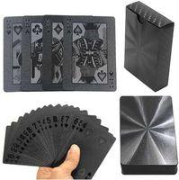 핫 보드 게임 54pcs 블랙 다이아몬드 플라스틱 카드 놀이 포커 카드 포커 블랙 포커 카드 세트 클래식 매직 트릭 도구