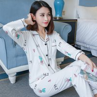 100% Cotton Casual Indoor Pajamas Sets for Women 2018 Autumn...