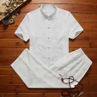 Estilo Men chinês ajustou Bordado Wu Shu Uniforme Tai Chi roupas casuais gola shirt Pant Suit Tang Roupa
