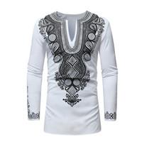 RICHE BAZIN roupas Africano Novo estilo dashiki Africano impressão nacional do vento Com Decote Em V manga longa dos homens T-shirt Plus Size