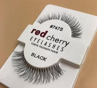 wholesale DHL 50 Pairs RED CHERRY False Eyelashes 100% Handm...