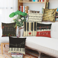 Piano Keyboard Design Pillow Retro Vintage Style Cushion Hom...