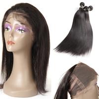 Brasiliani dell'onda del corpo tessuto dei capelli vergini 3 bundles con 360 chiusure frontali del pizzo grado 9A non trasformati malese peruviano indiano Remy capelli umani