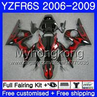 Lichaam voor YAMAHA YZF R6 S R 6S YZF600 YZFR6S 06 07 08 09 231HM.8 YZF-600 YZF R6S YZF-R6S 2006 2007 2008 2009 Verkleinings Rode Vlammen Kit
