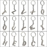 26 A- Z Crystal English Letters Initial Keychain Key Rings Ho...