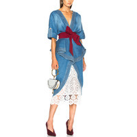Blue Sexy Elegant Women Denim dress 2019 Abiti runway Doppio scollo a V Backless Ruffle Sash Wrap Vestito longuette anteriore Split Donna Jeans Vestidos