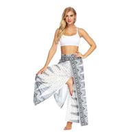 New Women Yoga Pant Elastic Waist Bohemian Hippie Gypsy Harem Palazzo Print Belly Dance Lantern Wide Leg Pants Top Quality Free Shipping