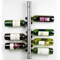 De alta qualidade Bar Aço Inoxidável Rack De Vinho Prateleira De Vinho Titular Montado Na Parede 8 Garrafas de 12 Garrafas