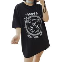 Gothic Moon Phase Witchcraft Katze Gedruckt Weibliche Harajuku T-Shirt Kurzarm Frauen Tops Lose Sommer T-shirt