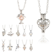 12 Jaulas Estilo ostra perla collares pendientes del unicornio Locket ahuecan hacia fuera amor collar de perlas de collar desea la flor de Rose de la sirena de la joyería de bricolaje