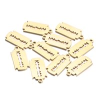 Großhandel 9 * 19mm Silber Gold Rasierklinge Edelstahl Herzanhänger Anhänger für Schmuck Zubehör Messer Für DIY Halskette Armband