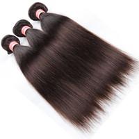 Cor 2 # 27 # Brazilian Hair Weave Bundles 10 '' - 24''human cabelos pacotes brasileiros extensões de cabelo humano 3 ou 4 pcs marrom escuro