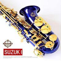 شحن مجاني سوزوكي ألتو ساكسفون إب الساكسفون SR-475 F E شقة براس ساكس مطلية بالذهب المهنية آلات الموسيقى الأزرق ساكس مع حالة