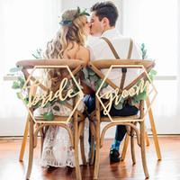 Signes de chaise de mariage pour les mariés mariage chaises de calligraphie signes suspendus en bois Set décoration de mariage