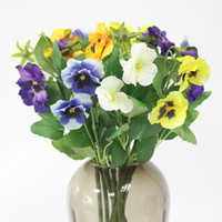 Flone Silk Artificial Flower Pansy Simulation Cat Face Butte...