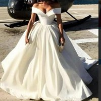 Sexy Off The Shoulder Simple Style Wedding Dresses Una línea vestidos de novia Summer Beach Wedding Dress