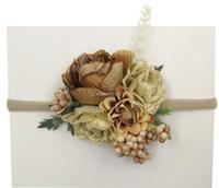 crianças Flor Moda Bebê Nylon com alça de Natal Floral bagas Crown cabeça Custom made Handcrafted Headband A1196