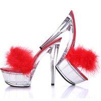 Sexy Bird Fear Fur Clear PVC Sandals Slincbacks Высокие каблуки Тапочки Сандалии Насосы прозрачные Стелето Каблуки Ночной Клуб Шарика Кристалл Обувь