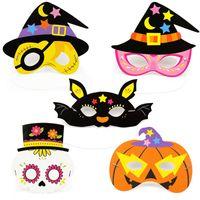 Halloween Cartoon Muster Papier Maske Kind Kindergarten Maskerade Party Geheimnis Maske Augenmaske Kinder Gefälligkeiten 5 Stil