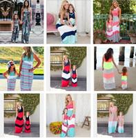 Anne Ve Kızı Elbiseler Yaz Donanma Tarzı Çizgili Uzun Elbise Moda Anne Ve Bebek Giyim Kolsuz Yelek Dikiş Elbise