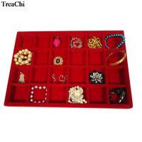 Nuevo tamaño grande de 24 cuadrículas bandeja de joyas de terciopelo rojo pulsera pendiente pendiente Display Box Negro joyería del anillo organizador del almacenaje de la caja 35 * 25 * 3cm
