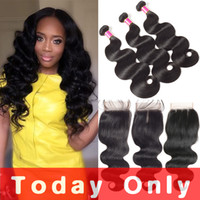 Mink Brazilian Body Wave Hair Bundles With Closure 10A Brazi...