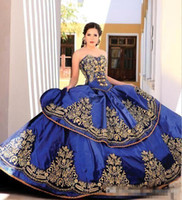 Royal Blue Gold Lace Quinceanera Dresses Ball Gown Sweethear...
