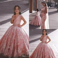 Pink Girls Pageant Dresses With Beaded V Neck A Line Luxury ...