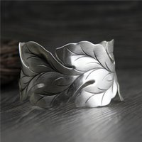 handmade vintage 999 sterling silver wide leaf exaggerated b...