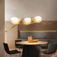 اللون الذهبي الطائر الفروع عش الثريا الألومنيوم مصباح قلادة الفن ديكور مصباح قلادة مع لمبة E27