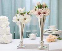 Grande boa qualidade vasos de metal de prata para arranjo de flores para decoração de casamento