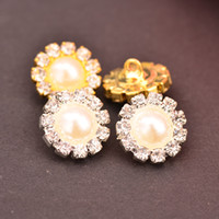 Rhinestone Pérola botões usados em centros de flor loop de volta 10MM 20PCS / Lot cor do ouro ou prata cores KD128