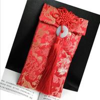 Bolso chino de la joyería del arte del paño del viento Boda del paño de brocado sobres rojos invitación de la boda empaqueta alrededor de los 9.5 * 18cm envío libre FD14