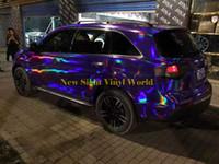 Iridescent Purple Chrome Holographic Vinyl Wrap Sticker Arcobaleno Foglio di pellicola vinile Foglio adesivo Bubble Car Styling gratuito