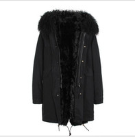 Kaliteli Moğolistan koyun kürk trim Cazevar marka siyah kuzu kürk astar siyah uzun ceketler ykk fermuar ile kar kış parka