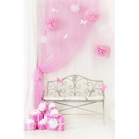Baby-Geburtstagsfeier-Fotografie-Hintergrund druckte rosa Vorhang-Papier-Schmetterlings-Blumen-Bank-Geschenkbox-Innenkinder-Foto-Hintergrund