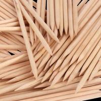 100 Unids Palos De Madera Nail Cutícula Empujador Stick Two Way Naranja Palo De Madera Nails Pusher Polish Remover Herramientas Manicura Cuidado De Uñas