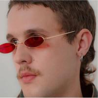 Vintage Küçük Oval Erkekler Için Güneş Gözlüğü Yüksek Kaliteli Metal Çerçeve Şeffaf Lens Ayna Küçük Gözlük Kadın Marka Güneş Gözlüğü