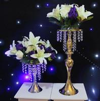 Moda Luxxury Düğün Masa Centerpieces Metal Çiçek Vazo Cystal Ekran Raf DIY Çelenk ekran kek standı için çiçek Yol Kurşun SN1028