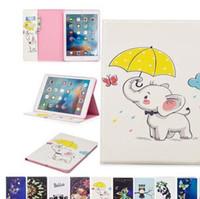 Panda de dibujos animados pintado elefante búho soporte del tirón del soporte de la PU cubierta de cuero para ipad 5 6 234 Mini123 4 nuevo ipad 9.7 2017 2018 Samsung Tablet