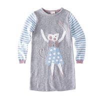 2018 Autumn Baby Girls Knit Dress Cartoon Mouse Stripe Long ...