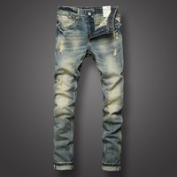 Italian Style Fashion Mens Jeans Retro Design Slim Fit Denim...