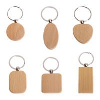 천연 나무 열쇠 고리 모양의 모양의 사각형 심장 열쇠 고리 Ctrative Anti 잃어버린 나무 키 체인