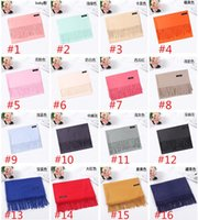 26 Color Pure Color Cashmere Scarves 200*70CM Autumn Winter ...