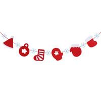 Wholesale-3M عيد الميلاد سانتا قبعة التمهيد قفاز جورب الثلج نمط الطوق الرايات الرايات أعلام عيد الميلاد الجدار شنقا الديكور