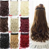 """Saç Siyah Kahverengi Sarışın Gerçek Doğal Dalgalı Sentetik peruk Saç Peruk 24"""" Kıvırcık 3/4 Uzun Klip"""