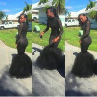 High Neck Black Girl Mermaid Prom Dresses Lace Sweep Train Z...