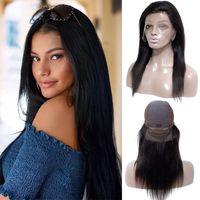 Capelli diritti brasiliani pieni parrucche in pizzo corpo corpo profondo onda in pizzo parrucche anteriori in pizzo regolabile precipitato in pizzo frontale capelli umani parrucche di capelli umani donne nere
