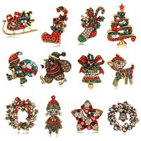 Mixed 20 Styles Red Boot Tree Penguin Santa Deer Brooches Pi...